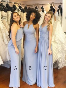 Elegant Simple Spaghetti Straps Light Blue Chiffon Long Bridesmaid Dresses Under 100