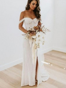 Charming Sheath Off the Shoulder Sparkly Sequins Split Wedding Dresses