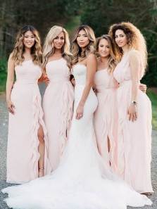 Elegant Sheath One Shoulder Pink Chiffon Ruffled Split Long Bridesmaid Dresses