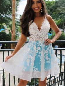 Cute A Line V Neck Open Back Blue & White Lace Short Homecoming Dresses, Party Dresses