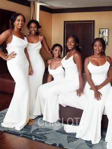 Elegant Mermaid Cowl Neck Spaghetti Straps White Satin Long Bridesmaid Dresses