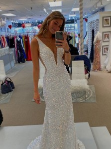 Sparkly Mermaid Deep V Neck Open Back White Sequins Long Prom Dresses, Charming Evening Dresses
