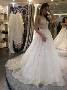 Sparkly Charming Ball Gown V Neck Sequins Tulle Wedding Dresses with Train