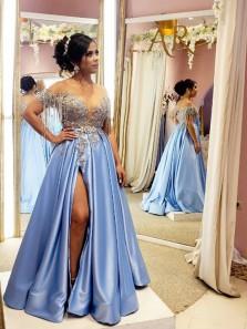 Charming A Line Round Neck Light Blue Satin Split Prom Dresses with Split, Beading Lace Formal Evening Dresses