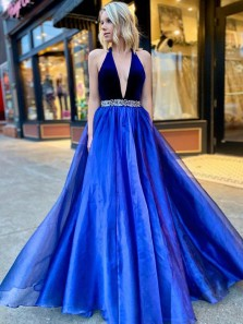 Gorgeous Ball Gown Deep V Neck Halter Royal Blue Prom Dresses, Evening Party Dresses