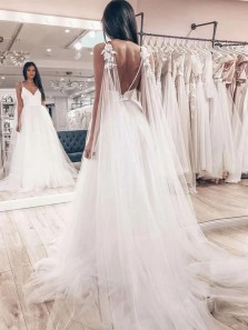 Fairy A Line V Neck Open Back Satin & Tulle Wedding Dresses WD2060101