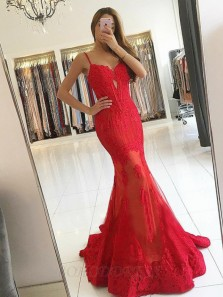 Charming Mermaid Sweetheart Spaghetti Straps Red Lace Prom Dresses, Elegant Evening Dresses