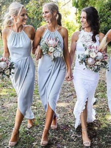 Elegant Sheath Halter Light Blue Chiffon Ruffled Bridesmaid Dresses, Summer Bridesmaid Dresses