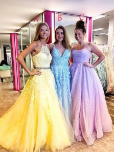 Fashion Ball Gown Halter Daffodil Lace Tulle Prom Dresses with Beading