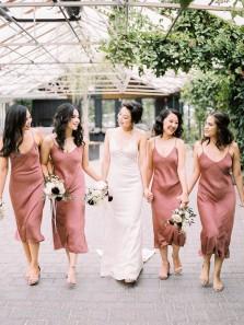 Romantic Sheath V Neck Spaghetti Straps Cinnamon Rose Satin Tea Length Bridesmaid Dresses
