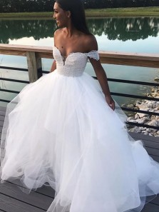 Ball Gown Off the Shoulder Appliques Tulle White Wedding Dresses