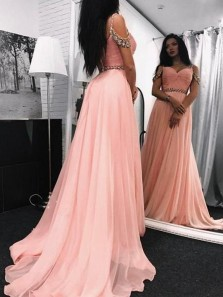 Cute A Line Sweetheart Open Back Blush Pink Chiffon Beading Prom Dresses