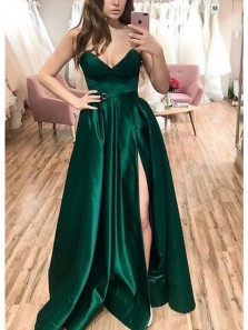 Fashion A Line V Neck Split Dark Green Satin Prom Dresses, Evening Party Dresses