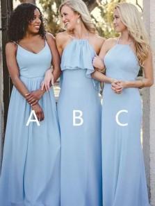Elegant A Line Halter Light Blue Chiffon Long Bridesmaid Dresses Under 100