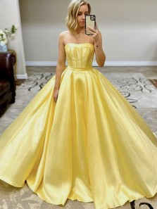 Sweet Ball Gown Sweetheart Daffodil Satin Prom Dresses with Pockets, Sweet 16 Dresses