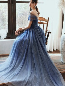 Fairy A Line V Neck Open Back Light Navy Tulle Prom Dresses