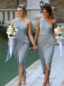 Sheath One Shoulder Ruffled Grey Bridesmaid Dresses