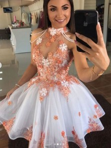 Fashion A Line Halter White Tulle Short Prom Dresses with Appliques