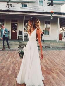Fairy A Line V Neck Ivory Chiffon Wedding Dresses, Beach Wedding Dresses