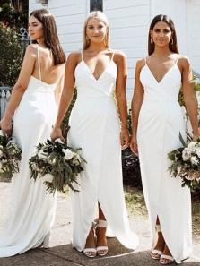 2020 Fashion V Neck Spaghetti Straps White Chiffon Bridesmaid Dresses with Split