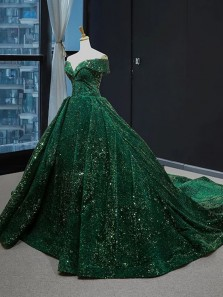 Ball Gown Off the Shoulder Dark Green Sparkly Satin Prom Gowns, Quinecanera Dresses