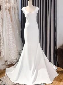 Elegant Mermaid V Neck Open Back Cap Sleeves Satin Wedding Dresses