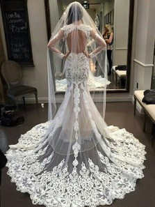 Gorgeous Mermaid See Through Lace Long Sleeves Wedding Gowns