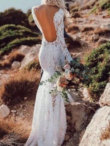 Boho Mermaid Open Back Long Sleeves Lace Wedding Dresses with Train