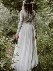Simple A Line Two Piece Long Sleeves Lace Wedding Dresses with Button