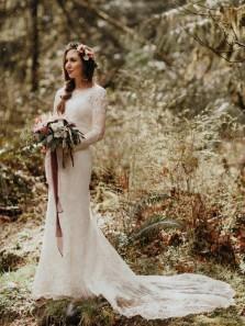 Elegant Retro Mermaid Long Sleeves Lace Wedding Dresses