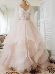 Cute Ball Gown V Neck Pink Tulle Lace Wedding Dresses