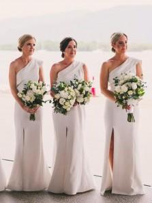 Elegant Sheath One Shoulder Ivory Satin Split Bridesmaid Dresses