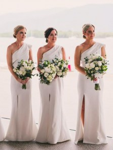 Elegant Sheath One Shoulder Ivory Satin Split Bridesmaid Dresses