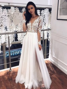 Chic A Line V Neck Long Sleeves Split White Lace Wedding Dresses