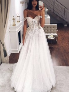 Fairy A Line Sweetheart White Wedding Dresses with Appliques