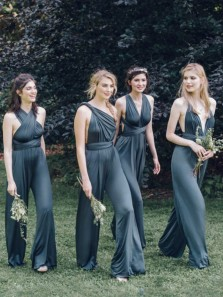 Fashion Navy Jumpsuits Bridesmaid Dresses, Convertible Rompers for Wedding Party