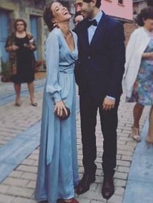 Casual V Neck Long Sleeves Split Long Evening Dresses, Party Dresses