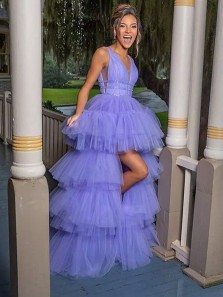 Cute Ball Gown V Neck Lavender Tulle High Low Prom Dresses, Pageant Dresses