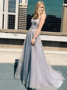 Fairy V Neck Spaghetti Straps Grey Tulle Prom Dresses with Appliques