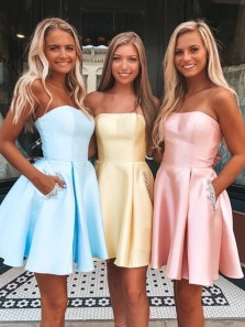 Cute A Line Light Blue Satin Short Homecoming Dresses with Beading, Pockets Party Dresses