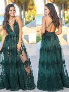 Cute Boho V Neck Open Back Lace Split Prom Dresses, Evening Party Dresses