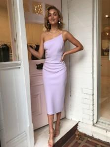 Elegant Sheath One Shoulder Lavender Satin Tea Length Cocktail Dresses, Evening Party Dresses