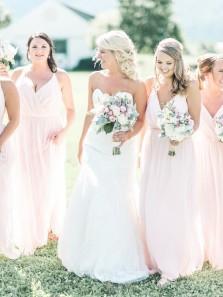 Fairy V Neck Spaghetti Straps Pink Bridesmaid Dresses For Wedding Under 100