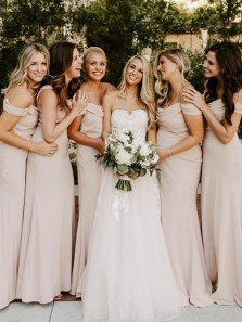 Elegant Sheath Off the Shoulder Nude Bridesmaid Dresses