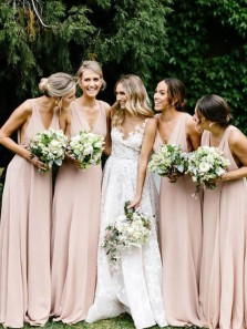 Elegant A Line V Neck Blush Pink Bridesmaid Dresses