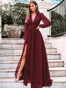 Elegant A Line V Neck Burgundy Chiffon Split Long Sleeves Evening Dresses, Prom Dresses