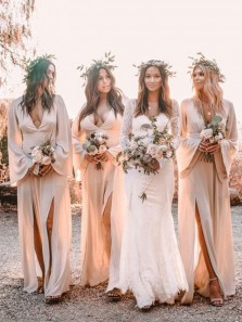 Boho Beach V Neck Long Sleeves Split Nude Bridesmaid Dresses for Wedding