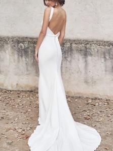 Elegant Mermaid Deep V Neck Open Back White Satin Wedding Dresses