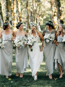 Sheath Ruffled Neck Light Grey Sage Chiffon Bridesmaid Dresses