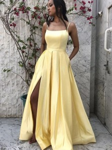 Cute A Line Scoop Neck Daffodil Satin Long Prom Dresses with Split, Evening Party Dresses with Pockets